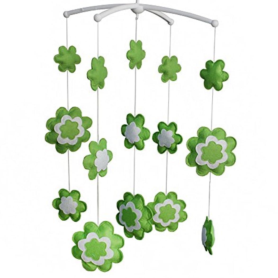 交響曲換気東ティモールベビーベッドモバイルグリーンフラワー手作りミュージカルモバイルベビーシャワーギフト保育園の装飾