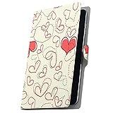 タブレット 手帳型 タブレットケース タブレットカバー 全機種対応有り カバー レザー ケース 手帳タイプ フリップ ダイアリー 二つ折り 革 ハート 赤 白 柄 005018 Fire HDX Amazon アマゾン Kindle Fire キンドルファ