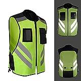 安全ベスト ポケット メンズ 白銀色反射テープ 蛍光 バイク用 作業ベスト 交通 事故防止 道路安全服 夏用 蛍光イエロー