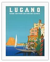 ルガーノ - 南スイス - ルガーノ湖 - ビンテージな世界旅行のポスター によって作成された レオポルド・メトリコヴィッツ c.1958 - キャンバスアート - 51cm x 66cm キャンバスアート(ロール)