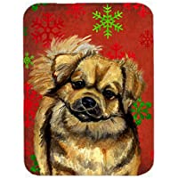 Carolines Treasures LH9349LCB Tibetan Spaniel Red And Green Snowflakes Christmas Glass Cutting Board - Large