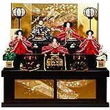雛人形 五人揃収納飾り 【花御所】セット 23号(5人)[幅75cm] 溜塗 引出し式[sb-18-252] 雛祭り