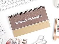 2YOUNG Kraft Standing Weekly Planner - Wirebound Kraft Undated Weekly Desk Planner Scheduler (Wine) [並行輸入品]