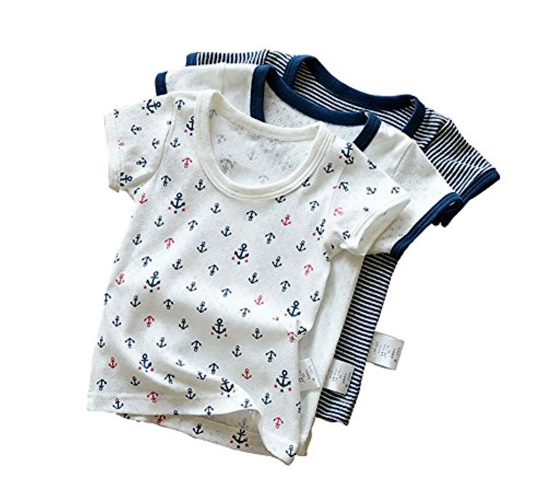 dodokids 夏 涼しい タンクトップ& Tシャツ二つタイプ キッズ 男の子 綿100% 子供用 かっこいい ブルー 敏感肌のお子様に 幼稚園 小学生 春 秋 3枚組 80~140cm