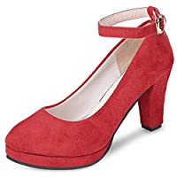 DealMuxチャンキーヒールスエードラウンドトゥアングルストラップバックル女性の靴RED 36