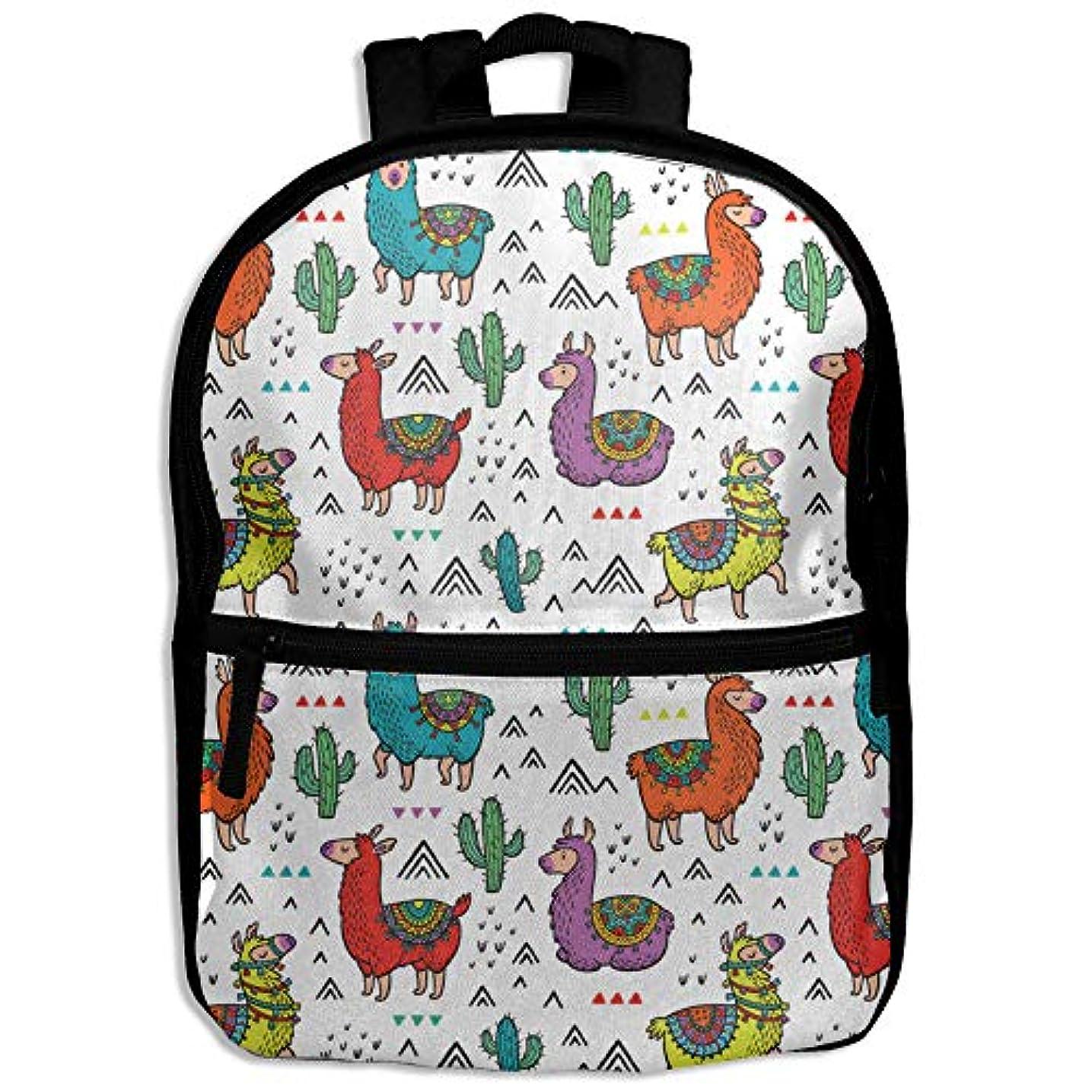 気まぐれな精通したはさみキッズバッグ キッズ リュックサック バックパック 子供用のバッグ 学生 リュックサック かわいい 動物柄 カラフル アルパカ アウトドア 通学 ハイキング 遠足