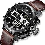 [メガリス]MEGALITH 腕時計 メンズ時計軍事防水 アナデジスポーツ多機能ウオッチレザー LEDライト ストップウォッチ アラーム 日付曜日付け ラグジュアリー おしゃれ ビジネス カジュアル 男性腕時計本革 ブラック
