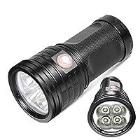 LED懐中電灯 usb充電/逆充電 3 ~18 個LED数 高輝度 色温度 7500K 3つモード調光 フラッシュライト 10000時間 アルミニウム合金 IPX5防水 18650電池対応(乾電池付属なし) 吊りロープ付き 停電対応 地震対策 登山 夜釣り 野外 非常時 XM3-18 (4個LED数(XM4))