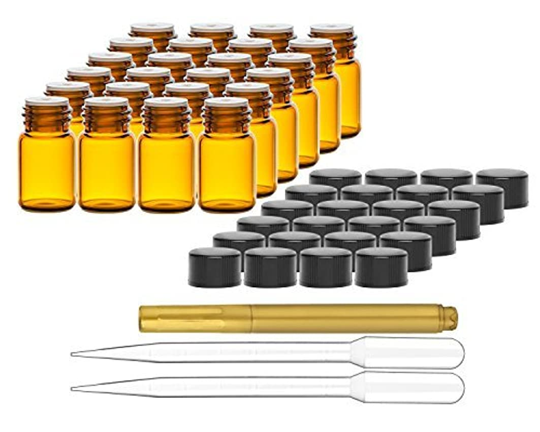 プロジェクター二適応Culinaire 24 Pack Of 2 ml Amber Glass Bottles with Orifice Reducers and Black Caps & (2x) 3 ml Droppers with Gold...