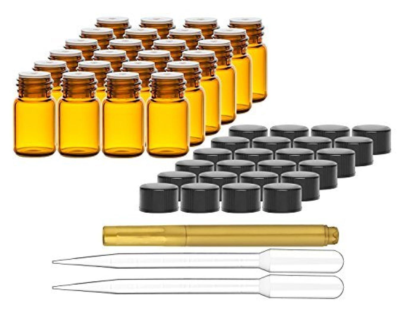 隔離する宇宙船準備ができてCulinaire 24 Pack Of 2 ml Amber Glass Bottles with Orifice Reducers and Black Caps & (2x) 3 ml Droppers with Gold...