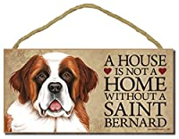"Saint Bernard "" A House Is Not A Home Without A Saint Bernard "" – 5 "" x 10 "" Door Sign with Optional 1pcスタンドとボーナス"" I Love My Dog "" 3 ""ラウンドデカール"