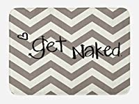 Quoteバスマットby Ambesonne、Get Nakedフレーズwith a little heart on Zig Zag Backdrop Hand Drawnスタイル、Plushバスルームのインテリアマット非スリップBacking 29.5W x 17.5Wインチ、トープ、クリームブラック