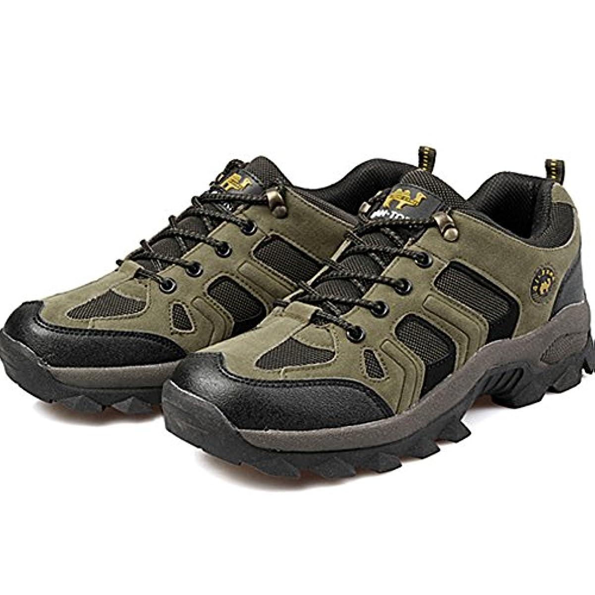 気がついて近代化変な[Flova] トレッキングシューズ メンズ 登山靴 アウトドア ハイキングシューズ 撥水 レースアップ 通気性 滑り止め 軽量 カーキ/っブラウン 24.5-27cm