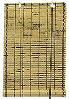天然竹Slatべっ甲Roll Upウィンドウブラインド 24x72 Inch ベージュ BB804