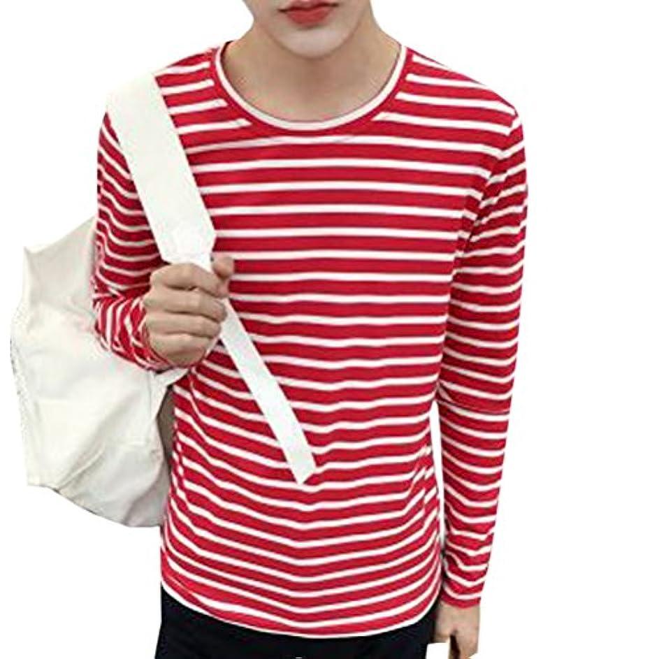 アッパーパワーセル足輝姫 ブラウス メンズ  長袖  シャツ 横縞 ラウンドネック Tシャツ 秋春 ファッション 通学 通勤 カジュアル (M, レッド)