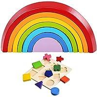 litebee Wooden Stacking Game Stackerセット( Rainbow Stacker +シェイプパズル建物ネスト)初期学習玩具、ジオメトリブロックパズル早期開発教育玩具子供ベビー幼児用Infant