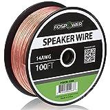 FosPower 14AWG 純銅 高純度OFC スピーカーケーブル / スピーカーワイヤー【14ゲージ | 30メートル】アンプやA / Vレシーバにオーディオスピーカーを接続