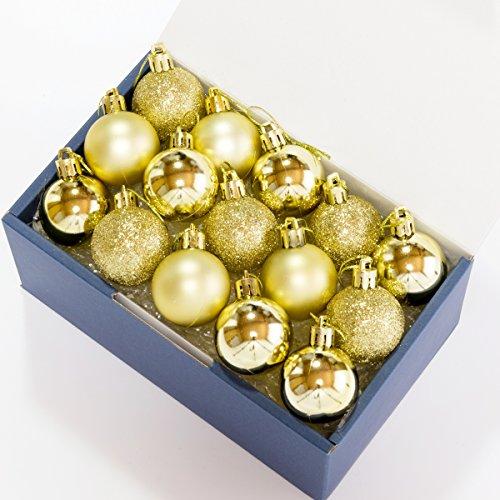 QOLCA クリスマス オーナメント ボール 4cm 24個入り(ゴールド)