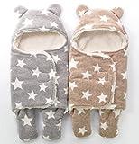 DEZAR ベビー おくるみ 星 柄 ふわふわ クマさん 新生児 フリース 防寒 出産祝 (65X75cm, ブラウン)