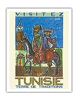 訪問チュニジア - 伝統の国 - ビンテージな世界旅行のポスター によって作成された ハテム・エル・メッキ c.1954 - アートポスター - 28cm x 36cm