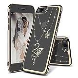 iPhone 8 Plus用ケース、iPhone 7 Plus用保護ケース、[ワイヤレス充電をサポート] 耐衝撃性 アンチスクラッチ iPhone 8 Plus/7 Plus対応携帯ケース超薄型ハードカバー (金 スワン)