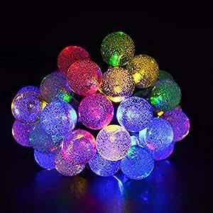 ソーラーストリングライト 、iAmer 20フィート30球 LED防水屋外 ガーデンライト ストリングライトソーラーガーデン、庭園、ホーム、風景、新年、誕生日、結婚式 クリスマスパーティー用グローブ、ストリングライト搭載( マルチカラー )