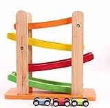 Wishtime 木のおもちゃ くるくるスロープ 車 ルーピング ビーズコースター 知育 玩具