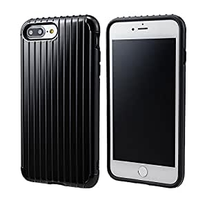 "GRAMAS COLORS ""Rib"" Hybrid case CHC446P for iPhone 8 Plus/7 Plus グラマスカラーズ リブ ハイブリッドケース 耐衝撃ケース ICカード対応(ブラック)"