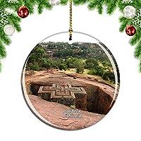 Weekinoエチオピアラリベラロック教会クリスマスデコレーションオーナメントクリスマスツリーペンダントデコレーションシティトラベルお土産コレクション磁器2.85インチ
