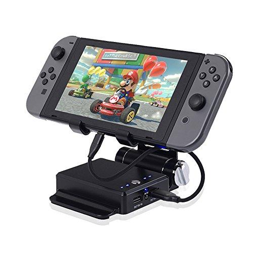 KINIVA Nintendo switch 充電スタンド モバイルバッテリー ニンテンドースイッチ 充電器 任天堂switch チャージャー 折り畳み式 (10400mAh 2ポート 大容量) ブラック