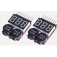 [2個セット]リポバッテリーアラーム&簡易電圧チェッカー 2~8セル Lipo/LiFe/Li-ion 対応