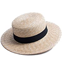 Lawliet Womens Natural Straw Boater Hat Beach Flat Dress Fashion Show A449