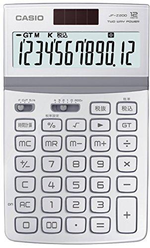 カシオ 電卓 ジャストタイプ 12桁 ホワイト JF-Z200WE-N