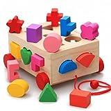 ceciIインテリジェンスボックスシェイプMatchingブロック、15穴、木製素材、ベビー子供の教育玩具、3年以上もの。