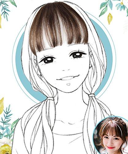 LANNA 総手植え レディース エアリーバンク 前髪ウィッグ エクステ ウィッグ ストレート 100%人毛 ぱっつん+サイドあり (ダークブラワン)