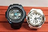 カシオCASIO 腕時計 G-SHOCK&BABY-G ペアウォッチ 純正ペアケース入り ジーショック&ベビージー 2本セット ブラック 黒 ホワイト 白 G-STEEL アナデジ GST-W300G-1A2JF BGA-220-7AJF