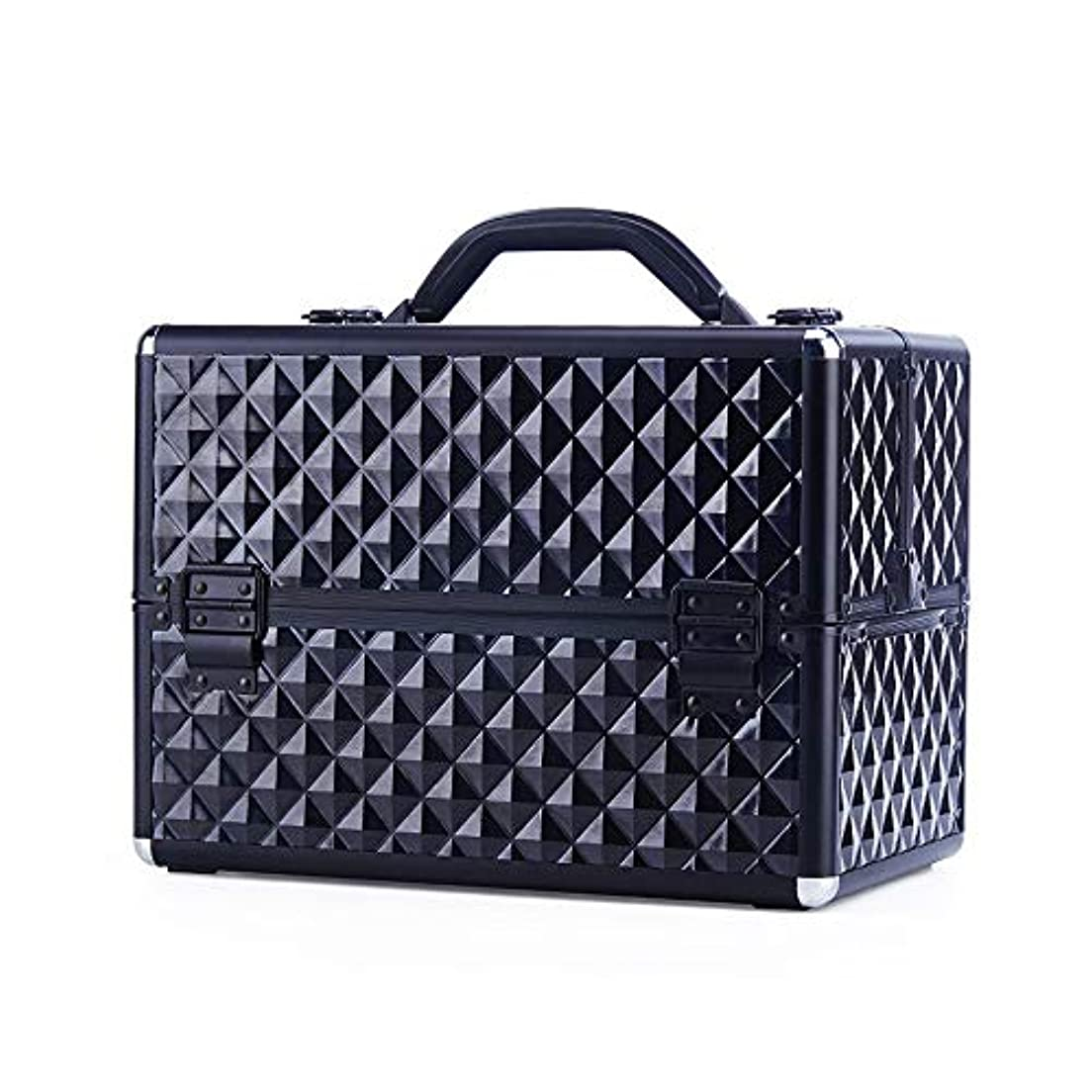 事前スピンジャングル化粧オーガナイザーバッグ 大型スペースチェック柄美容化粧箱メイクキャリー/トラベルケースアーティストネイルテックケース収納美容袋 化粧品ケース (色 : ブラック)