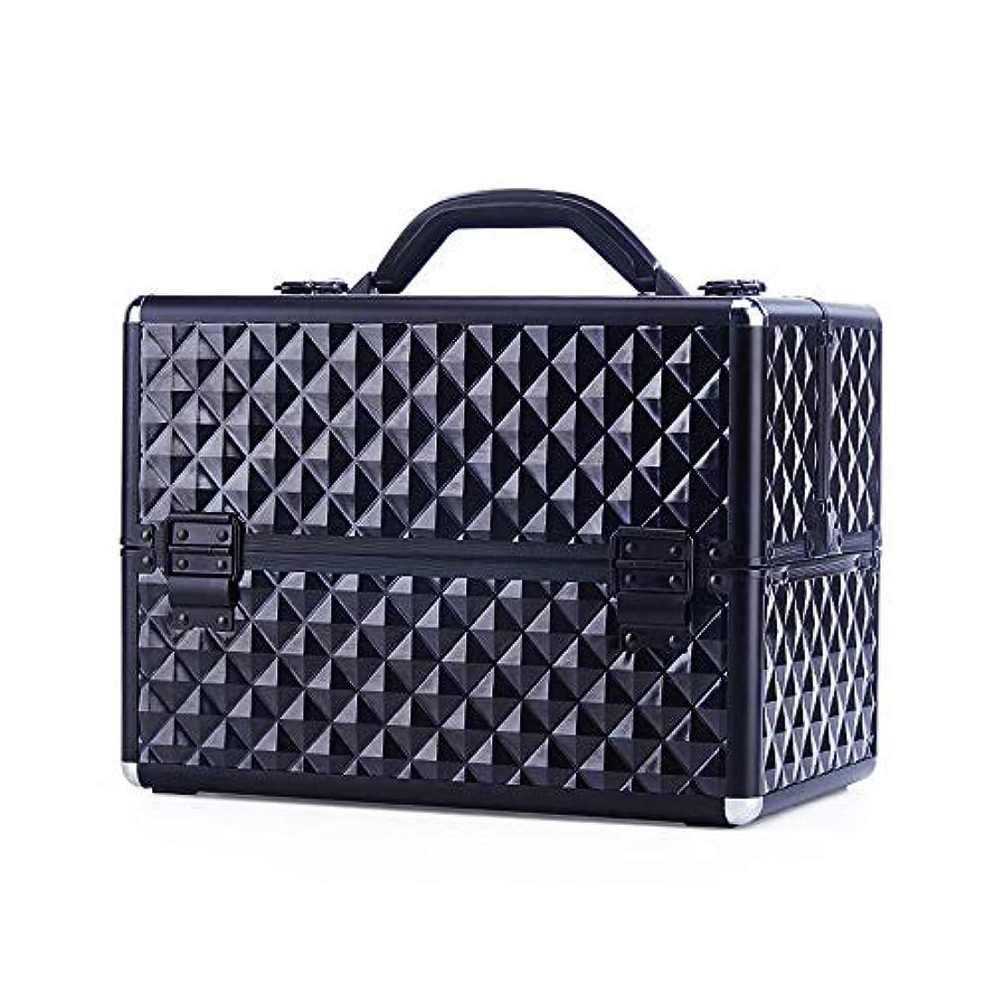 件名バンガロールビー化粧オーガナイザーバッグ 大型スペースチェック柄美容化粧箱メイクキャリー/トラベルケースアーティストネイルテックケース収納美容袋 化粧品ケース (色 : ブラック)