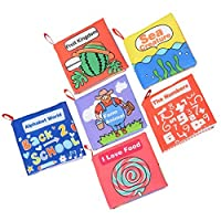 FunsLane Cloth Books for Babies Soft Non-toxic Fabric Baby First Book Activity Crinkle Book for Infants Toddler Squeak Rattle Early Education Toys For Boy and Girl Baby Shower Gift Pack of 6 [並行輸入品]