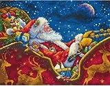 """ディメンジョンズ クロスステッチ 刺繍キット""""真夜中のサンタクロース""""      Dimensions Needlecrafts  Counted  Cross Stitch Kit, Santa's Midnight Ride       DIM クロスステッチキット Santa's Midnight Ride [並行輸入品]"""