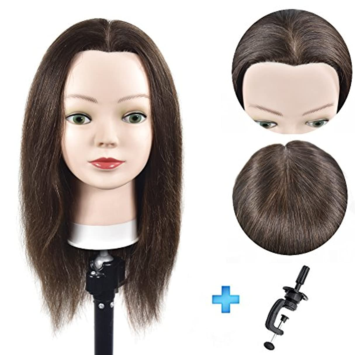 誠実アルミニウムパンダ16インチマネキンヘッド100%人間の髪の美容師のトレーニングヘッドマネキン美容師の人形ヘッド(テーブルクランプスタンドが含まれています)
