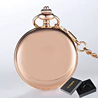 Rose Gold with Box : GORBEN Brand Watch Rose Gold Full Polishing Quartz Pocket Watch Simple Stylish Watches Fob Waist Chain Exquisite s with Box