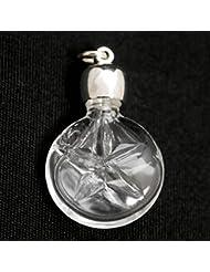 ミニ香水瓶 アロマペンダントトップ 星型(透明 容量1ml)×穴あきキャップ シルバー