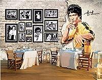 Bzbhart 3D壁の壁画の壁紙ブルース・リー武道の背景の壁の装飾画像の壁紙の壁のリビングルーム-120cmx100cm