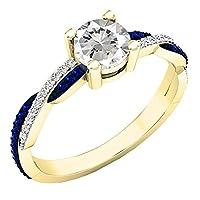 14K黄色ゴールドラウンドラボ作成宝石用原石&ダイヤモンドレディースSwirl Splitシャンク婚約リング