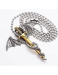 【ノーブランド品】男性 ステンレス鋼 翼竜&剣 ペンダント チェーンネックレス 宝石類のギフト