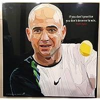 アンドレ?アガシ 海外製 テニスグラフィックアートパネル 木製ポスター インテリア