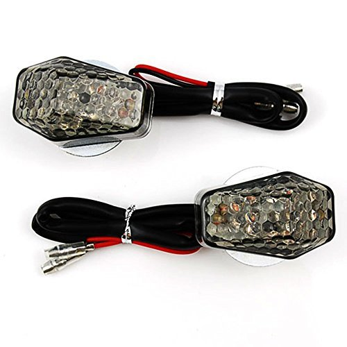 DLLL 2xLED Light Smoke Lens Flush Mount Motorcycle Turn Signals For Suzuki DL650 V-Strom 650 RGV250 RGV500 Boulevard C109R Intruder C1800R RV 125 Van Van DR650 SE(Smoke Lens 15 Amber LED Special Style) [並行輸入品]