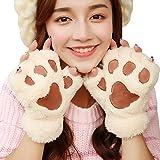 [FERE8890] レディース グローブ 手袋 半指 猫の爪 指なし おしゃれ かわいい ふわふわ 冬 暖かい 厚手 女性用 韓国風 防寒 冷え対策 あったかい アウトドア 冬用 指出しタイプ クリーム色