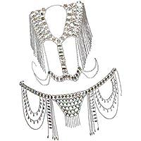 Baoblaze Crystal Rhinestone Body Chain Set Geometry Mesh Jewelry Chains Top Belly Waist Chain for Summer Dress Bikini Beach Party Birthday Gift